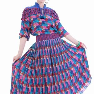 Vintage Diane Freis Pleated Georgette Blue Pink Ab